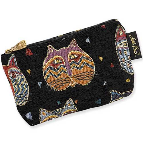 "Laurel Burch Tapestry Cosmetic Bag ""Feline Faces"" - LB3090A"