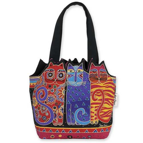 Laurel Burch Feline Cutout Tote - Feline Friends - LB4100