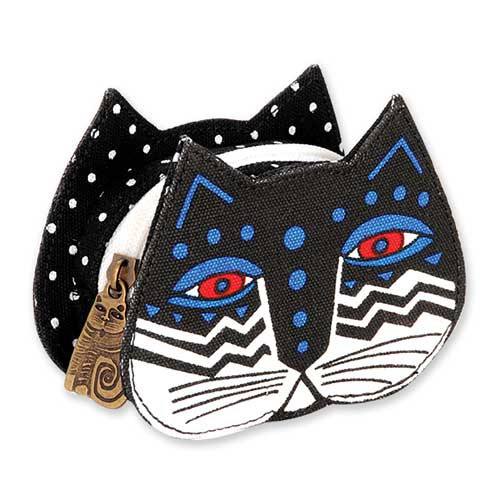 Laurel Burch Cat Face Dimensional Canvas Zip Coin Purse - LB4300F