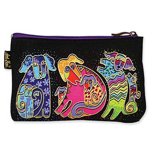 "Laurel Burch Dog Cotton Canvas Cosmetic Bag ""Dogs & Doggies"" - LB4640D"