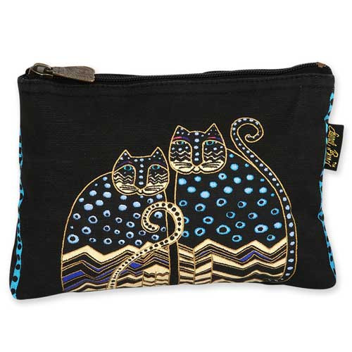 Laurel Burch Cotton Canvas Cosmetic Bag Polka Dot Cats - LB4880A