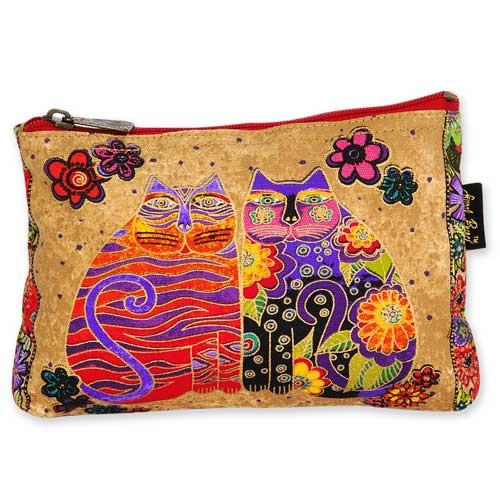 Laurel Burch Cotton Canvas Cosmetic Bag Flowering Feline - LB4880B