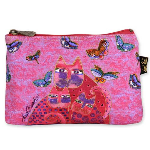 Laurel Burch Cotton Canvas Cosmetic Bag Fuchsia Cats - LB4880D