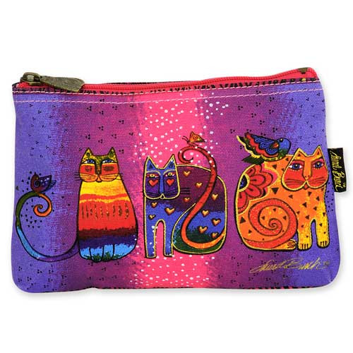 Laurel Burch Cotton Canvas Cosmetic Bag Cat Tails - LB4880E