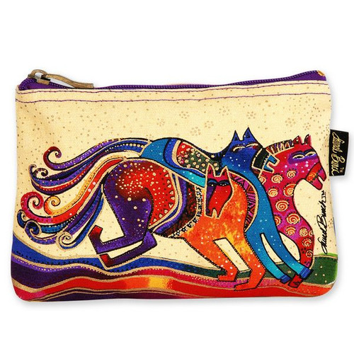 Laurel Burch Cotton Canvas Cosmetic Bag Wild Horses - LB4890D