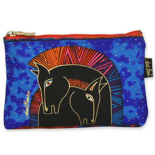 Laurel Burch Cotton Canvas Cosmetic Bag Embracing Horses - LB4890E