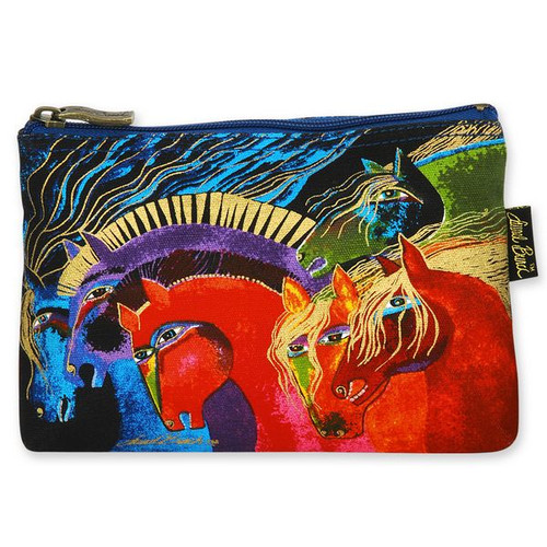Laurel Burch Cotton Canvas Cosmetic Bag Horses of Fire - LB4890F