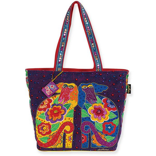 Laurel Burch Flowering Canines Large Square Tote - LB4920