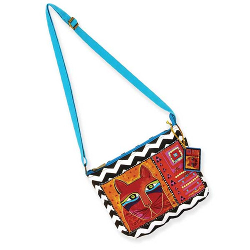 Laurel Burch Whiskered Cats Crossbody Bag Turquoise LB5320A