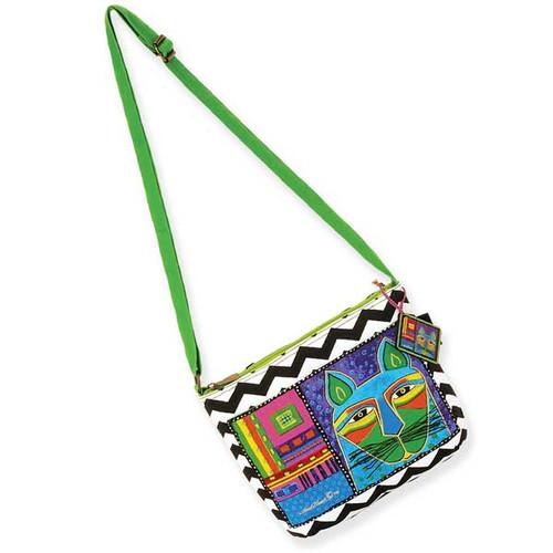 Laurel Burch Whiskered Cats Crossbody Bag Green LB5320D