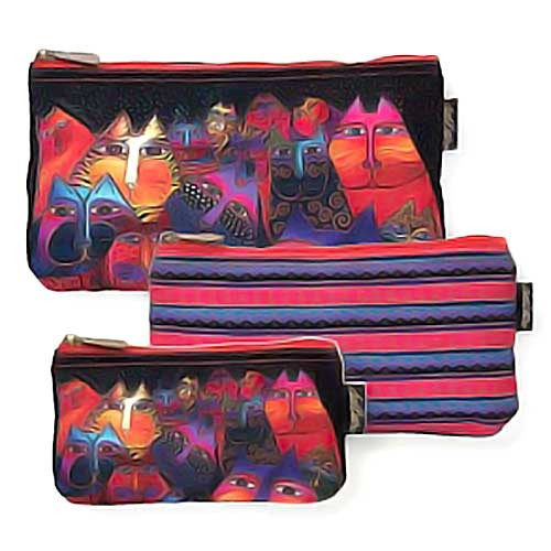 Laurel Burch Fantasticats 3 BAG SET Cosmetic Bags LB5331