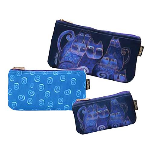 Laurel Burch Indigo Cats 3 BAG SET Cosmetic Bags LB5332