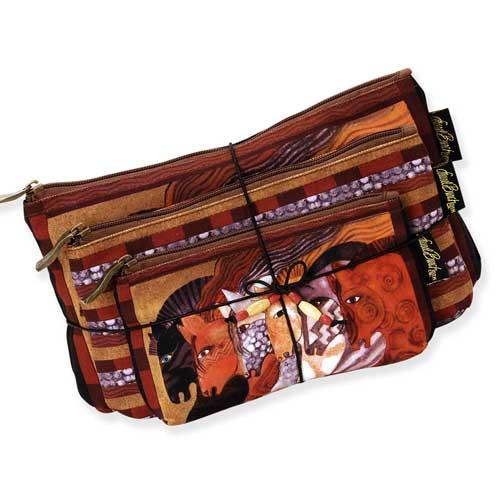 Laurel Burch Moroccan Mares 3 BAG SET Cosmetic Bags LB5333