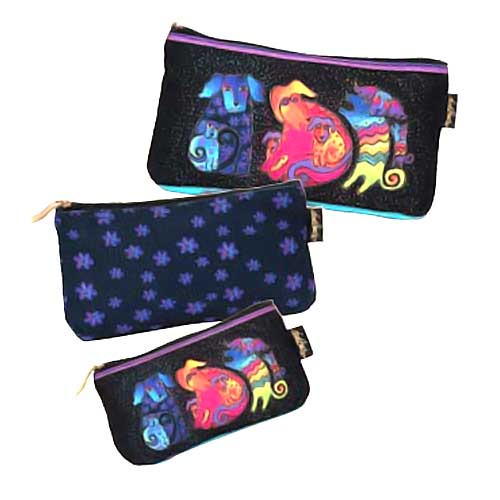 Laurel Burch Dog & Doggies 3 BAG SET Cosmetic Bags LB5335