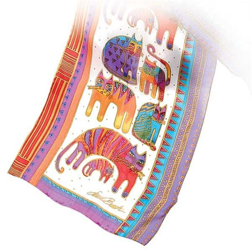 "Laurel Burch Silk Scarf  ""Fantastic Felines"" - With Sequins- White - LBS107W"