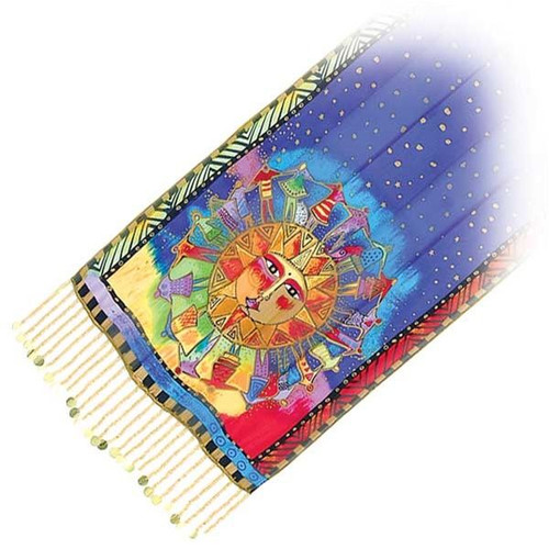 "Laurel Burch Silk Scarf  ""Harmony Under the Sky"" with Beaded Fringe - LBS130"