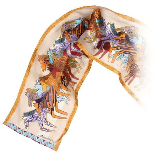 """Laurel Burch Silk Scarf  """"Native Horses"""" Neutral with Sequins - LBS141A"""