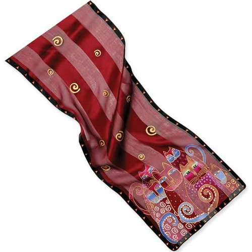 "Laurel Burch Silk Scarf ""Crimson Cats"" with Sequins - LBS161"