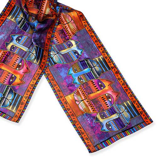 Laurel Burch Classic Silk Fabric Scarf Three Amigos LBS192