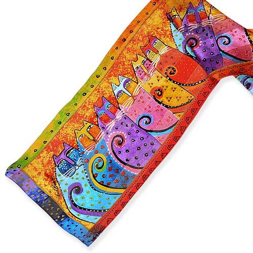 Laurel Burch Classic Silk Fabric Scarf Feline Tribe LBS193