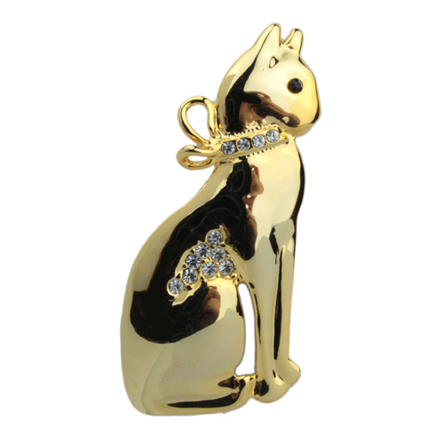 "Cat Pin with Rhinestones Goldtone ""Sitting Kitty"" - P4892G"