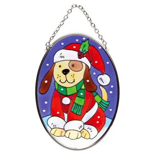 Christmas Dog Stained Glass Oval Suncatcher SO247