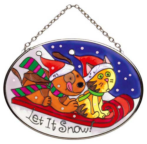 Let it Snow Cat Stained Glass Oval Suncatcher SO248