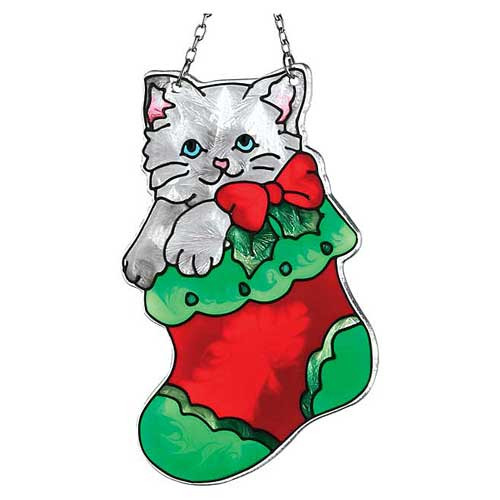 Kitten in Stocking Suncatcher SSB1019