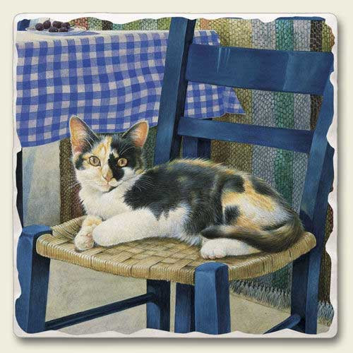 Lazy Chair Cat Tumbled Tile Trivet TTT-780