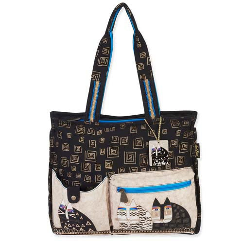 Laurel Burch Wild Cats Pocket Shoulder Tote Bag LB5341