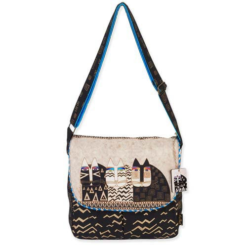 Laurel Burch Wild Cats Flap Over Shoulder Tote Bag LB5343