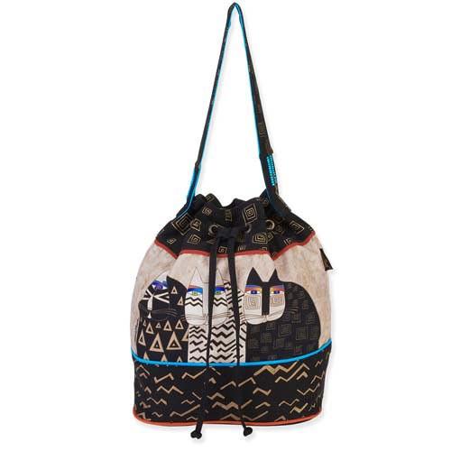 Laurel Burch Wild Cats Drawstring Tote Bag LB5344