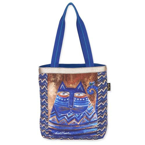 Laurel Burch Blue Azul Cat Shoulder Tote Bag LB5360