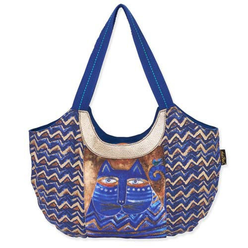Laurel Burch Large Blue Azul Cat ZigZag Scoop Tote Bag LB5362