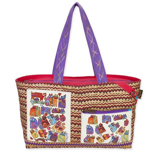 Laurel Burch Karly's Colorful Cats Fun Casual Shoulder Tote Bag LB5380