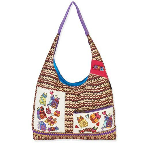 Laurel Burch Karly's Colorful Cats TearDrop Scoop Tote Bag LB5381