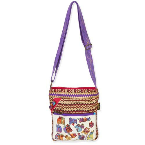 Laurel Burch Karlys Colorful ZigZag Cats Crossbody Tote LB5382