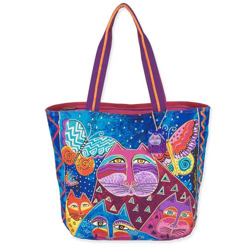 Laurel Burch Cats with Butterflies Shoulder Tote LB5500