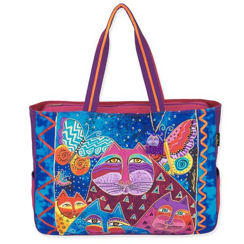 Laurel Burch Cats Butterflies Oversized Shopper Overnighter Travel Tote