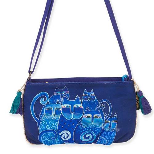 Laurel Burch Feline Crossbody Bag Blue LB5552A