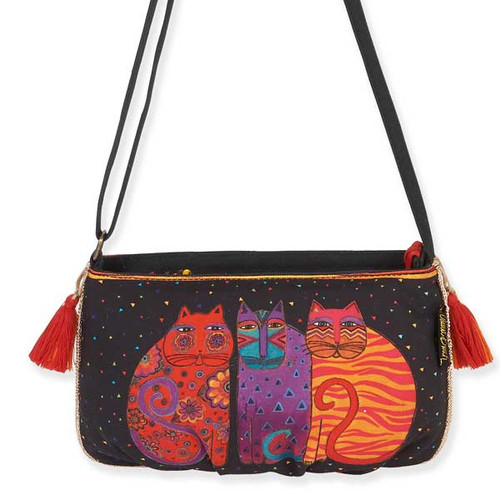 Laurel Burch Feline Crossbody Bag Black LB5552B