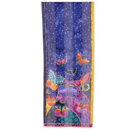 Laurel Burch Cats Butterflies Silk Scarf LBS197