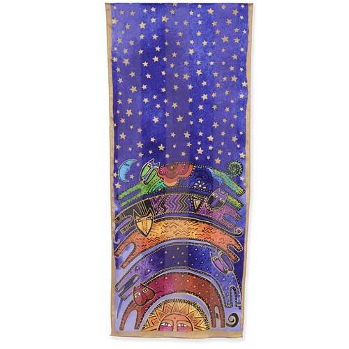 Laurel Burch Once in Blue Moon Cat Rainbow Silk Scarf LBS200