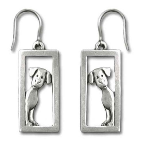 Dog Peeking In Frame Pewter Fishhook Earrings 6034EFP