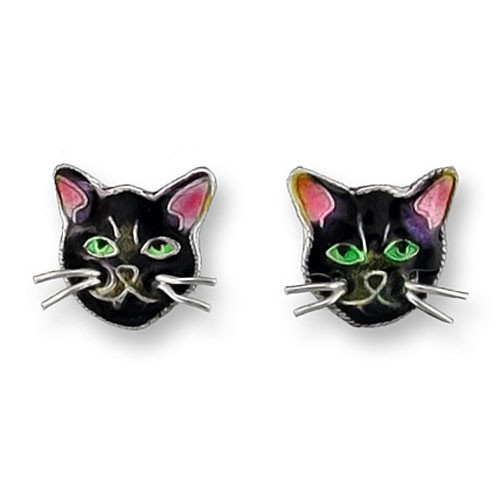 Black Cat Face Sterling Silver Post Earrings 29-44-01