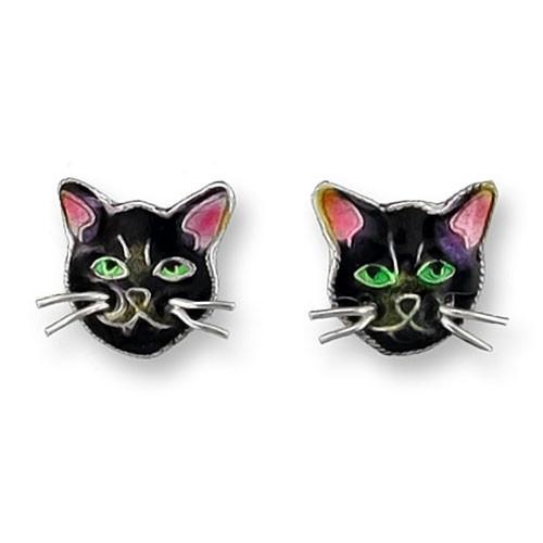 Black Cat Face Sterling Silver Post Earrings 29-44-01