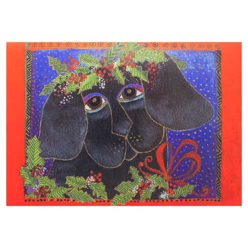 Laurel Burch Happy Holiday Puppy Christmas Greeting Card 72662P