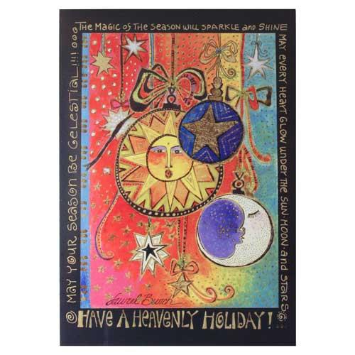 Laurel Burch Heavenly Holiday Sun Moon Stars Greeting Card 72661Pk