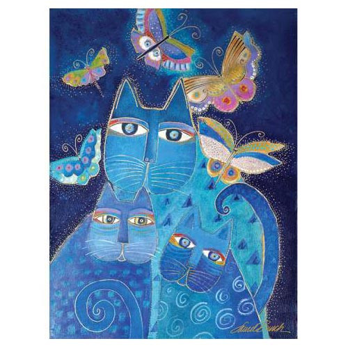 Laurel Burch Canvas Indigo Cat 12x16 Wall Art LB26003