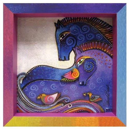 Laurel Burch 3-D Aquatic Mares Horses 8x8 Wall Art LB26015